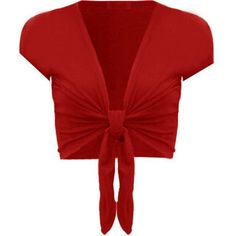 Commencer Womens Short Sleeve Plain Front Tie Bolero Top Cropped... ($5.43) ❤ liked on Polyvore featuring tops, cardigans, crop top, red shrug, short sleeve cardigan, short sleeve shrug cardigan and red short sleeve cardigan