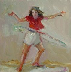 Hula Hoop - original oil figurative painting by Connie Chadwell