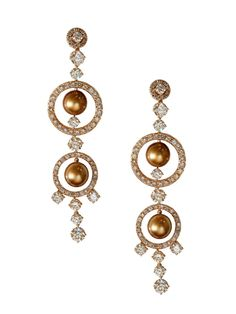 London Jewelers Collection 18k Rose Gold Brown Pearl and Diamond Circle Dangle Clip On Earrings!