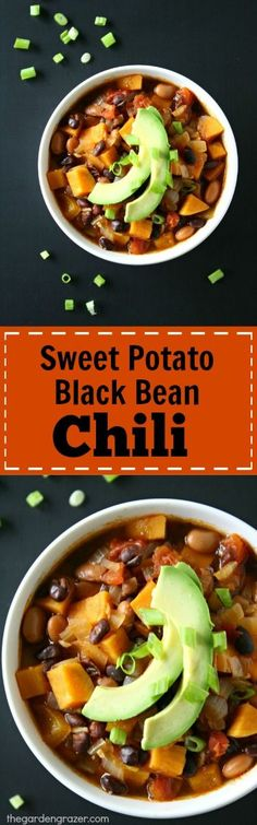 My favorite chili!! EASY Sweet Potato Black Bean Chili spiked with cumin and smoked paprika. So comforting and healthy! #vegan #chili