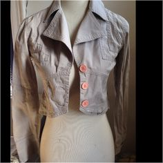 Cute Jacket size XS by Guess Jeans Button front big collar jacket by Guess Jeans size XS 97% cotton 3% spandex machine wash Guess by Marciano Jackets & Coats