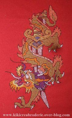 dragon sabre point de croix