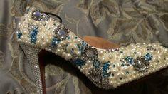 Custom hand made crystal and pearl bridal pump Blue Wedding Shoes, Bridal Shoes, Pearl Bridal, Blue Shoes, Wonderland, Pumps, Pearls, Crystals, Handmade