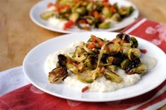 Honey-mustard Brussels sprouts over pureed cauliflower