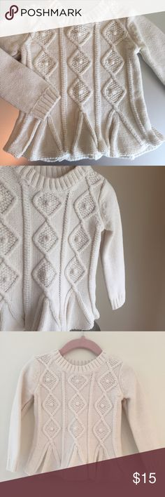 Baby GAP Ruffle Hem Cable Knit Sweater Baby GAP Cable Knit Sweater in White. Soft cotton knit with ruffle hem. Gently used and in Excellent condition. GAP Shirts & Tops Sweaters