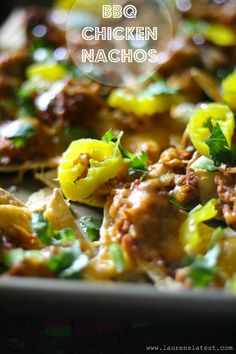 BBQ Chicken Nachos -  These are sweet, tangy cheesy and too good to be true.