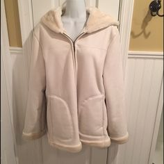 """Jones New York coat Cream coat lined. Has hood and two front pockets. About 28"""" long 24"""" across and 26"""" long sleeves. Jones New York Jackets & Coats"""
