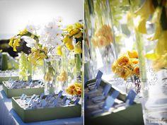 Modern beach wedding ~ Escort table decor