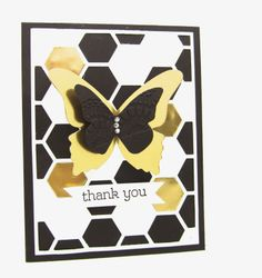 A Beautiful Butterfly in Gold using the Stampin' Up! Gold Foil Sheets, hexagon Hive Thinlits Die from the Occasion Catalog 2014. www.pinkblingcrafter.blogspot.com