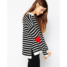 ASOS Jumper in Stripe With Intarsia Heart Elbow Patch
