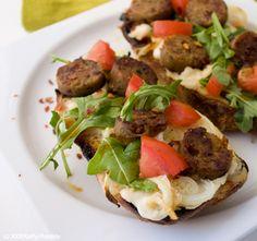 Easy Cheesy Vegan Sausage Flatbread. Balsamic Drizzle.