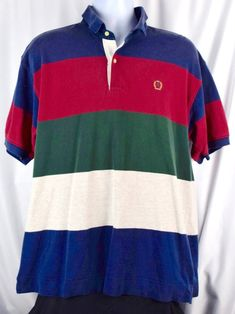e434fbb5ed2227 Vintage 90  Tommy Hilfiger Colorblock Striped Polo Shirt Mens Large Hip Hop  E90c