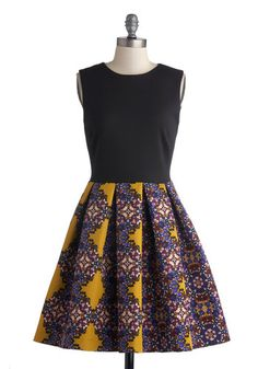 Event Plan for Success Dress in Gold | Mod Retro Vintage Dresses | ModCloth.com ~~~~~~~~ Black on the top and a fun colored print on the bottom? yes... please.