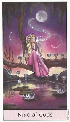"""Nine of Cups. The Nine of Cups is considered a """"wish card"""". One of the most positive cards in the tarot."""