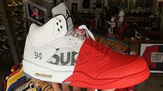 low priced 75af5 50235 Here s What a Supreme Air Jordan 5 Looks Like Dipped in Red Paint Wholesale  Shoes,
