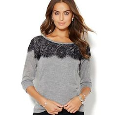 Lace detailed top NWT! Dark purple Blouse with black lace detail at the top. 3/4 inch sleeves and lightweight. 75% poly 25% rayon New York & Company Tops Blouses
