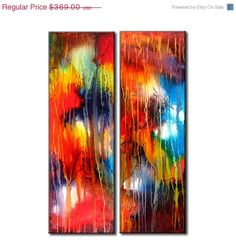 """TITLE :WAVES OF HAPPINESS  SIZE :36""""X24""""X1.5""""  2 PANELS OF 36""""X12""""X1.5""""    (HIGH GLOSS FINISH)  This Contemporary abstract modern painting was painted on gallery wrapped acid free canvas. Only fine quality art materials have been used."""
