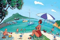Slip, Slop, Slap Takapuna Beach by Timo Rannali.  Image size in millimetres: 335 x 185.  Delightful kiwiana beach scene from contemporary NZ painter Timo Rannali. Auckland's Takapuna Beach with Rangitoto in the background. The title refers to a popular sunsmart campaign tagline that exhorted NZers to slip on a shirt, slop on some sunscreen and slap on a hat.