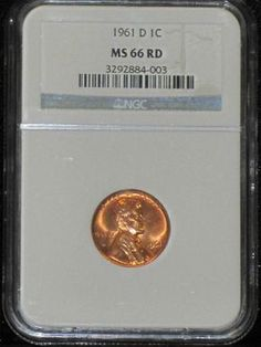 1961 D MS 66 Red NGC Graded Lincoln Memorial Penny - United States Rare Coin & Currency