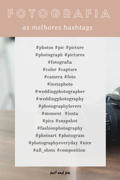 HASHTAGS POPULARES/ RELEVANTES SOBRE FOTOGRAFIA Para fotógrafos profissionais ou amadores: é só copiar e colar no Instagram Independentemente de serem bloggers ou instagrammers que se focam neste tópico ou estarem simplesmente a fazer uma publicação e à procura das melhores hashtags relacionadas com Fotografia, este artigo irá ajudar todos aqueles que pretendem ganhar mais seguidores através da utilização de hashtags relevantes. Instagram Blog, Feeds Instagram, Story Instagram, Insta Hashtags, Instagram Hashtags For Likes, Trending Hashtags, Social Media Tips, Photography Business, Blog Tips