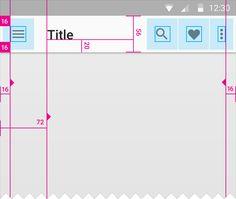 app bar Default height:  Mobile Landscape: 48dp  Mobile Portrait: 56dp  Tablet/Desktop: 64dp