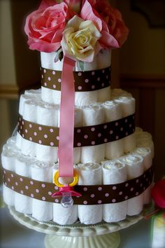 Diaper cake for baby shower at home.