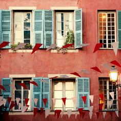 Colors of the French Riviera, Nice, France, photo by Irene Suchocki. Nice France, South Of France, France Europe, Beautiful World, Beautiful Places, Blue Shutters, Window Shutters, Red And Teal, Pink Blue