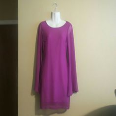 Fuchsia/orchid dress S Fuchsia dress in size small that was was worn once. It has bell sleeves and a beautiful design on the back. It would be ideal for someone between 5'0 and 5'3. Ark & Co Dresses Long Sleeve