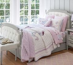 Blythe Tufted Bed & Headboard #pbkids for Lili's room in antique white