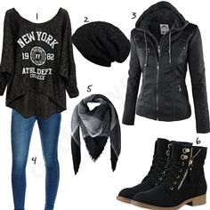 Schwarzes Damen-Outfit mit cooler Lederjacke Source by Winter Fashion Outfits, Fall Outfits, Cute Outfits, Fasion, Best Leather Jackets, Rocker Outfit, Outfits Damen, Teen Girl Outfits, Clothes For Women