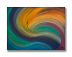 Abstract art, Wave painting, mermaid painting, Original oil on canvas, abstract seascape, blue, purple, orange wall art, home decor