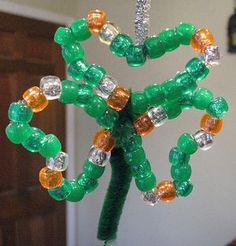 Beaded shamrock ornament for St. Patrick's Day.