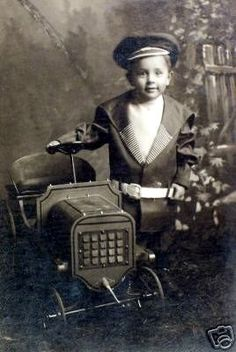 *PEDAL CAR ~ vintage child photo ~ with his pedal car  New Jersey Motorcycle and Auto Insurance 551-800-5991 mcsplst49@gmail.com