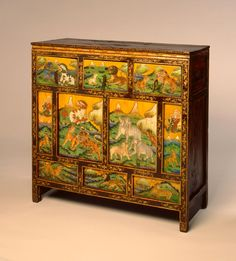 Tibetan Cabinet, 18th century or 19th century  Painted wood  42 1/4 x 42 1/2 x 15 3/4 in. (107.32 x 107.95 x 40.01 cm)  Gift of James Conley M2001.183   Photo creditJohn R. Glembin