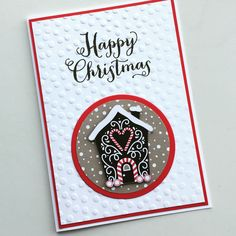 Gingerbread House Christmas Card - use gingerbread man instead of a house Simple Christmas Cards, Homemade Christmas Cards, Stampin Up Christmas, Xmas Cards, Homemade Cards, Handmade Christmas, Holiday Cards, Winter Cards, Christmas 2016