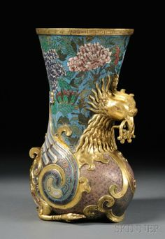 peacock cloisonne japanese | Cloisonne Vase, China, 19th/20th century, depicting a g : Lot 469