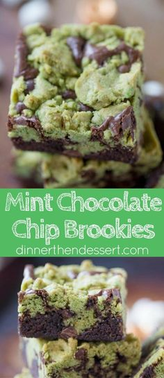 Mint Chocolate Chip Brookies are a delicious combination of mint chocolate chip cookies and rich dark chocolate brownies that tastes like your favorite thin mint cookies.