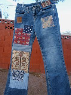 Bohemio parcheado Jeans para la temporada por PatchedPlanet en Etsy
