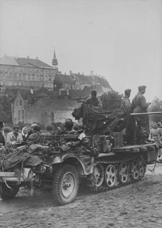 German tractor Sd.Kfz. 10/5 on the background of Tallinn's Old Town.