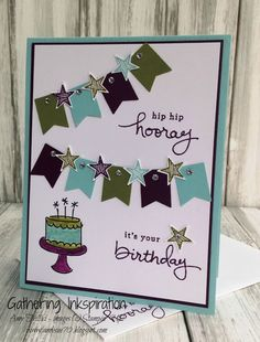 handmade greeting card, birthday card, birthday, hip hip hooray, banners, cake, stars, bright colors, rhinestones, DIY, demonstrator, paper crafting, easy, stamping, craft, paper, *Stampin' Up, by Amy Frillici, Gathering Inkspiration Stamp Studio, order products online at amysuzanne.stampinup.net