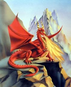 Sue Dawe Red Fire Dragon Plastic Sign Wall Signs Plastic Sign - 30 x 46 cm Unicorn Fantasy, Fantasy Dragon, Fantasy Art, Wall Art Decor, Wall Art Prints, Poster Prints, Wall Posters, Fire Dragon, Dragon Art