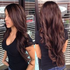 Long beautiful brunette hair. If only my hair could reach this point!
