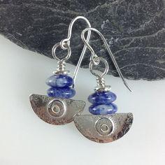 handmade silver and  blue sodalite earrings by DeborahJonesJewelry