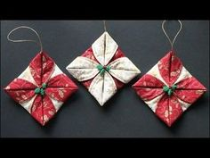 Our last holiday post is here! These folded ornaments are easy and fun to make. You could use any size circle to get rid of some of your holiday fabric scraps. Since there is hand and machine sewing i