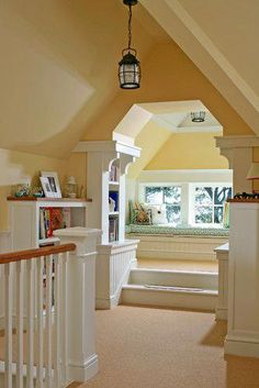 Childrens nook in finished attic with bookshelves and step up window seat Design Loft, Attic Design, Library Design, Attic Spaces, Attic Rooms, Attic Bathroom, Attic Playroom, Attic Office, Attic Apartment