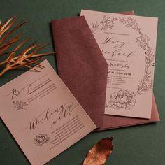 "designki.com on Instagram: ""Dusty pink invitation with dark burgundy envelope🍁👩💻designed + printed by @design.ki . . #weddinginvitations #weddinginvites…"" Pink Invitations, Wedding Invitations, Envelope Design, Graphic Design Print, Dusty Pink, Burgundy, Dark, Printed, Gifts"