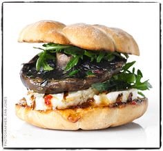Looking for the perfect halloumi burger? Try this veggie number with garlic mushrooms