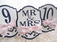 Wedding Table Numbers in White and Navy Blue - Damask Cutout - Pale Blush Pink and White Striped Ribbon -