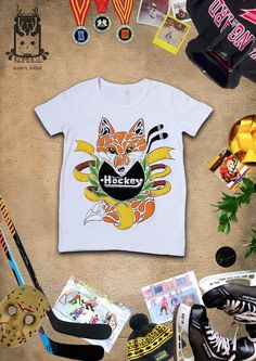 "T-shirt ""Hockey Fox"" (author's_own_ font) #fabricpainting"
