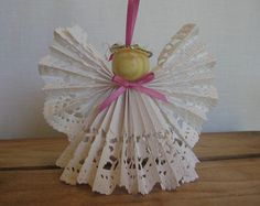 Angel Christmas Tree Ornament Pink Ribbon Trim White Lace Paper Angel Ornament SnowNoseCrafts